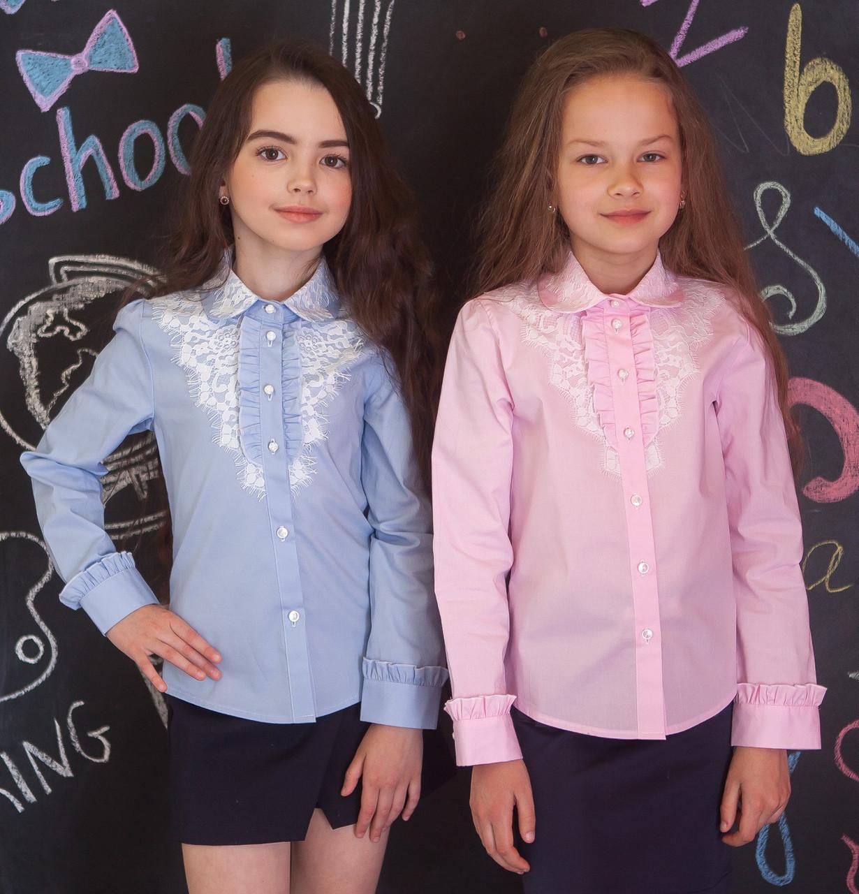 Рубашка для девочки розовая с кружевом и кружевным воротничком