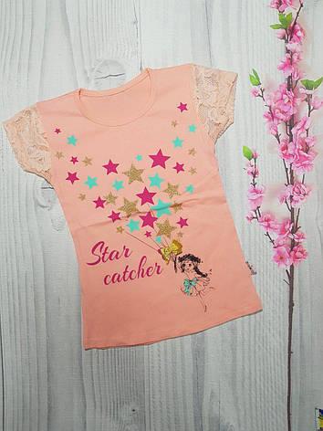 Летняя футболка для девочки Звезды 6-9 лет, фото 2