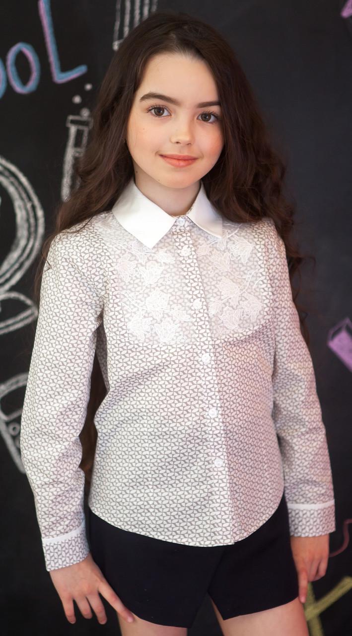 Рубашка для девочки с принтом и кружевом