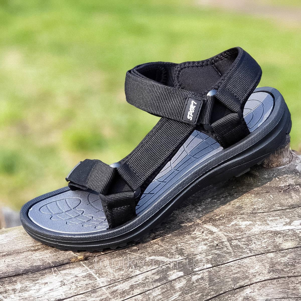 Босоножки сандалии мужские черные на липучках (Код: 1444)