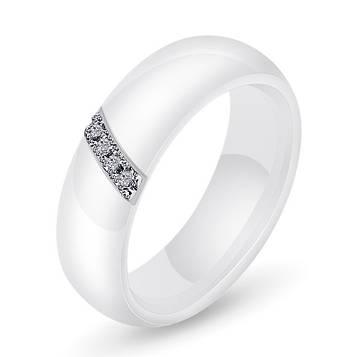 Кільце керамічне жіноча біле з кристалами код 1655