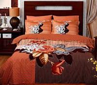 Постельное белье TAC Avalon коричневый Двуспальный евро комплект