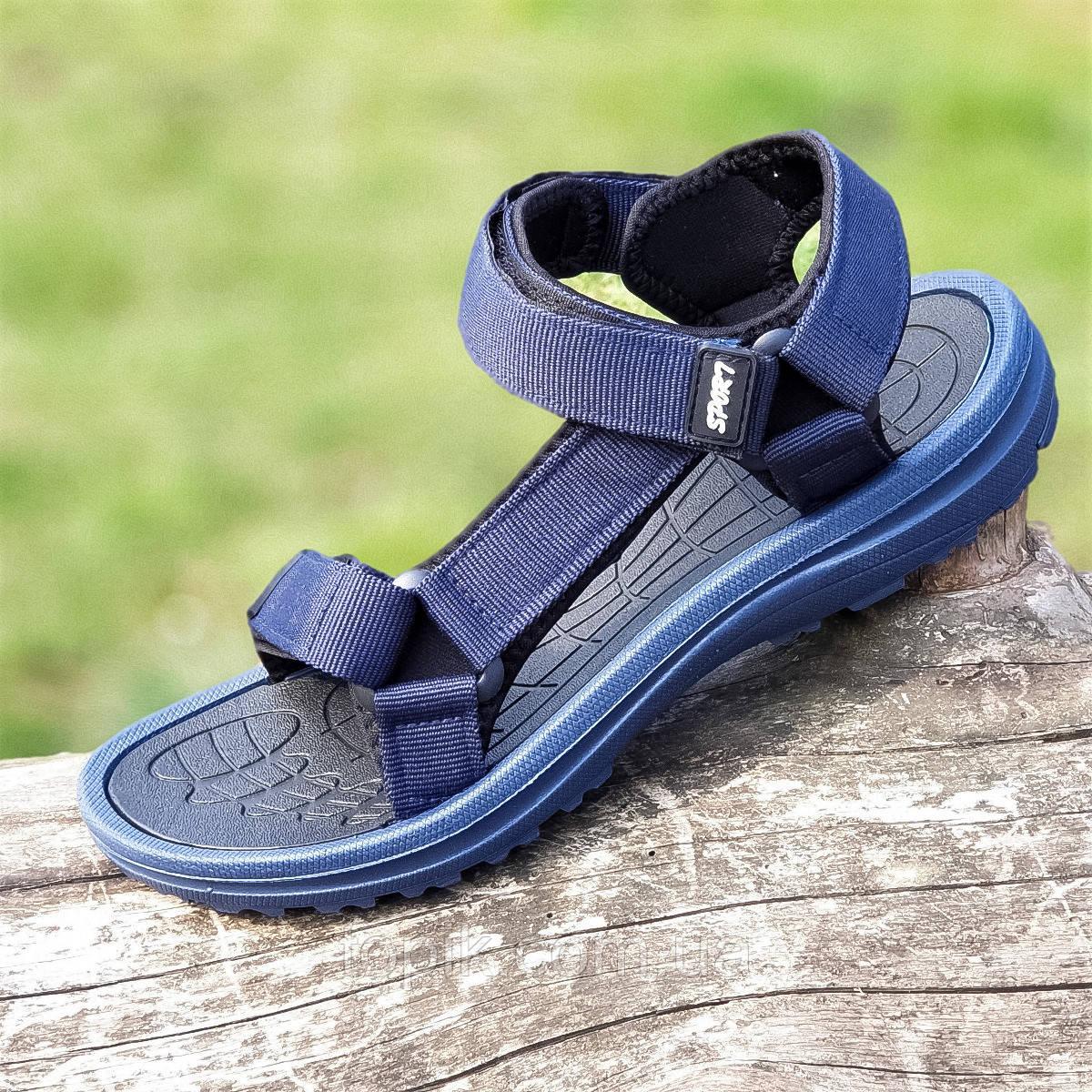 Босоножки сандалии мужские темно синие на липучках (Код: 1445)