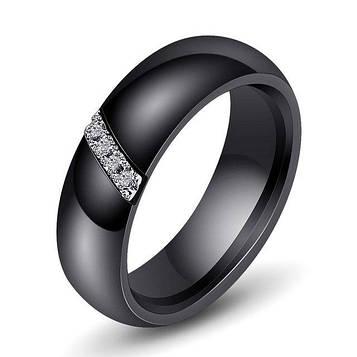 Кільце керамічне жіноче чорне з кристалами код 1655