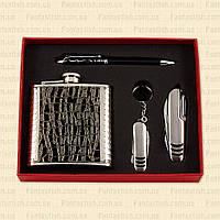 Подарочный набор F3-40-(6oz) - фляга, многофунциональный нож, брелок, ручка MHR /66-5
