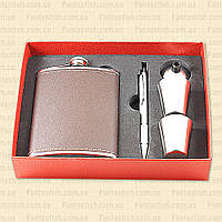 Подарочный набор F3-399-(8oz) - фляга, рюмки, воронка, ручка MHR /22-4