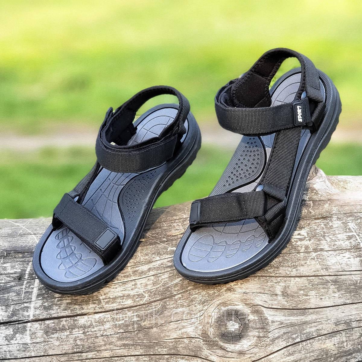 Босоножки сандалии мужские черные на липучках (Код: 1444а)