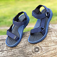 Босоножки сандалии мужские темно синие на липучках (Код: 1445а)