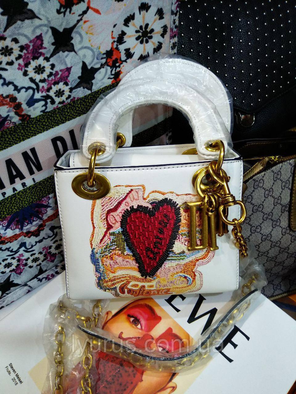 421a4e8f5c66 Женская сумка белая в стиле Dior mini яркая вышивка : продажа, цена ...