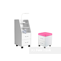 Комплект шкаф для хранения SS15 White + детская тумбочка SS15W Pink FunDesk
