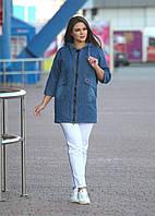 Женская джинсовая куртка большого размера прямая свободная с капюшоном 48-58 р