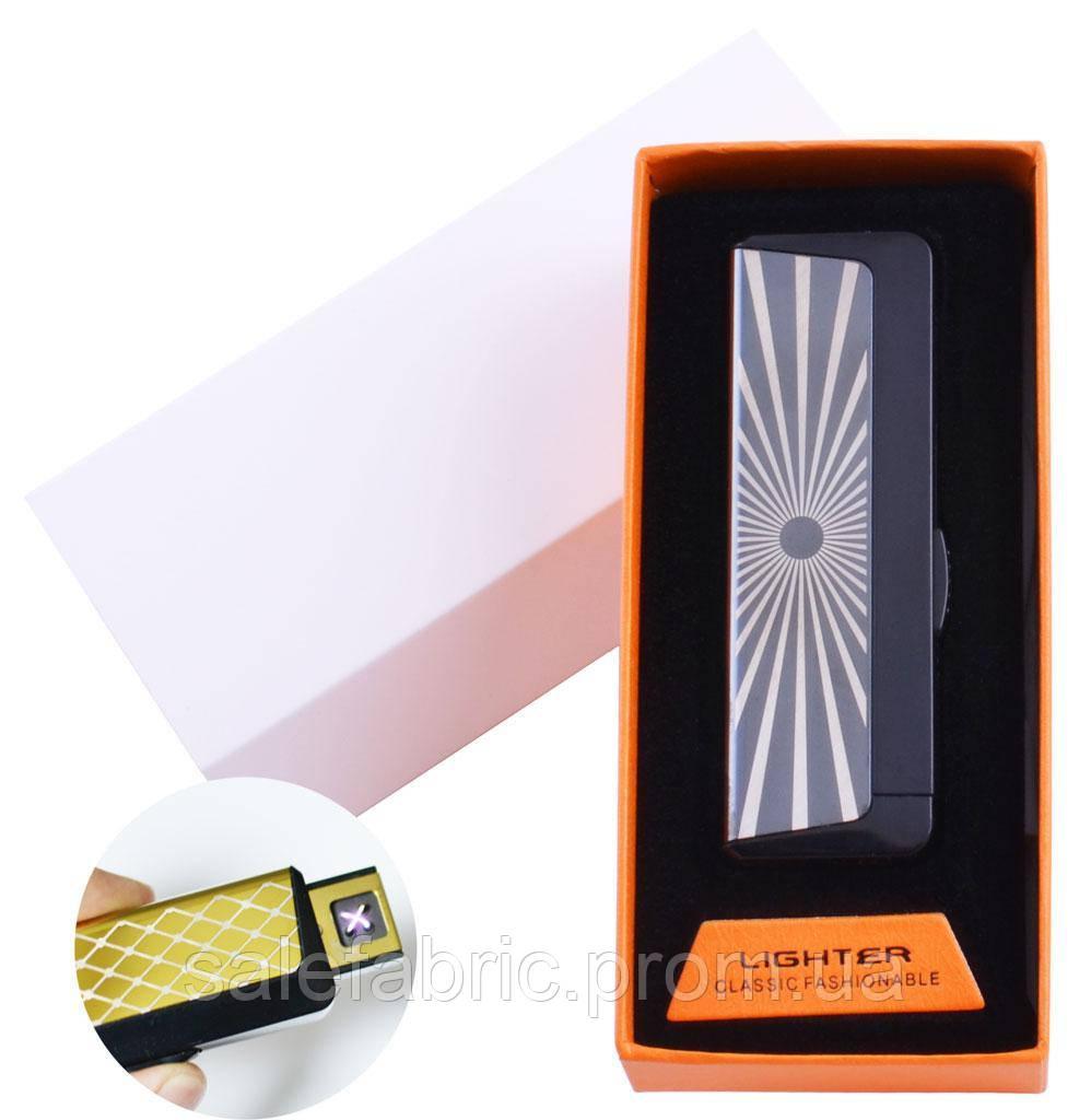 Электроимпульсная зажигалка в подарочной упаковке Абстракция (Двойная молния, USB) №HL-61-2