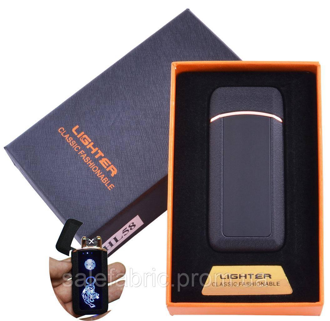 Зажигалка в подарочной коробке Тигр (Двойная молния) №HL-58 Black