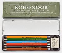 Набор цанговых карандашей с точилкой и ластиком Koh-i-Noor Diamond Pencils, 6 цветов (5217)
