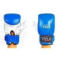 Снарядные перчатки с манжетом на липучке Кожа VELO (синий-белый)