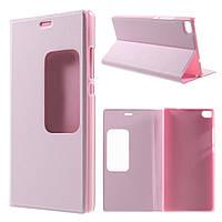 Чехол книжка Window View Smart для Huawei Ascend P8 розовый