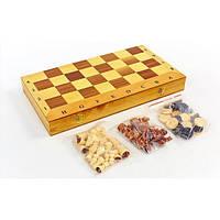 Шахматы, шашки, нарды 3 в 1 деревянные SN-12 (р-р доски 35см x 35см)