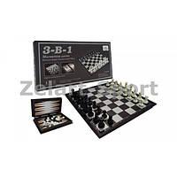 Шахматы, шашки, нарды 3 в 1 дорожные пластиковые магнитные SN-20 (32см x 32см)
