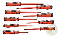 Набор отверток 1000 В, 9 шт., двухкомпонентные рукоятки, отвертки сталь S2, 3*100 мм, 4*100 мм, 5.5*125 мм, 6.5*150 мм, 8*175 мм, PH0*60 мм, PH1*80