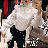 923f3f38336 Женская чёрная блузка с длинными рукавами Vitton