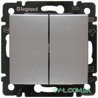 Механизм выключателя 2-клавишного алюминий 770105 Legrand Valena