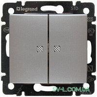 Механизм проходного 2-клавишного переключателя с подсветкой алюминий 770212 Legrand Valena