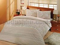 Постельное белье Altinbasak ранфорс Natura cream Двуспальный евро комплект - наволочки 50х70 см
