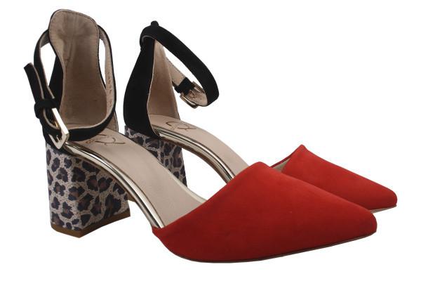 Туфли женские летние на каблуке Aquamarin Турция натуральная замша, цвет красный