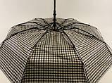 Мужской зонт с двойной тканью в клетку под куполом плуавтомат, фото 2
