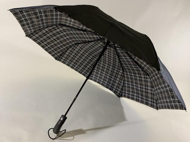 Мужской зонт с двойной тканью в клетку под куполом плуавтомат