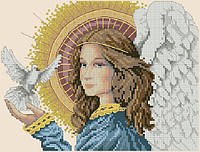 Набор для вышивания крестиком Небесная благодать - ангел с голубем. Размер: 18,5*14 см