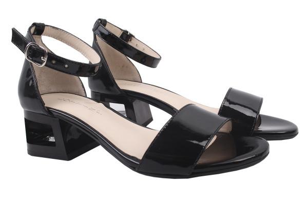 Босоножки женские на каблуке с ремешком Lottini Турция ,лаковая натуральная кожа, цвет черный
