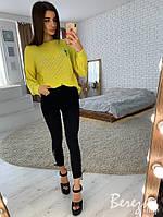 Женский свободный пуловер с декоративными разрезами 66KF526, фото 1