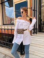Женская удлиненная рубашка с открытыми плечами 73BL239, фото 1