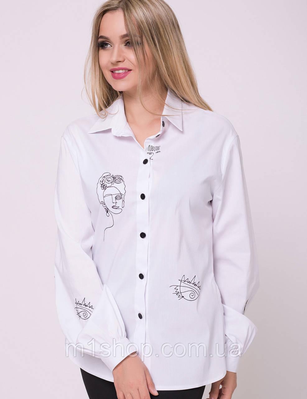 Женская белая рубашка с черной вышивкой (Помпея lzn)