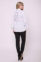 Женская белая рубашка с черной вышивкой (Помпея lzn), фото 2