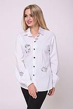 Женская белая рубашка с черной вышивкой (Помпея lzn), фото 3