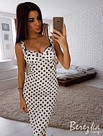 Платье бюстье в горошек до колен 66PL2687, фото 1