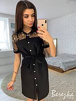 Летнее платье - рубашка с вставками сетки с кружевом 66PL2691, фото 1