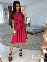 Летнее платье - рубашка миди с пышной юбкой и сеткой 66PL2692, фото 1