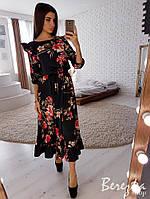 Шелковое платье миди в цветочный принт 66PL2699, фото 1