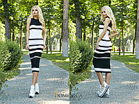 Полосатое платье миди из пряжи хлопка 31PL2711, фото 1