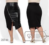 43c3d09de60 Женская юбка - карандаш в больших размерах с разрезом и экокожей 1BR1714