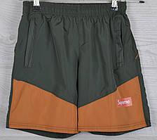 """Шорты подростковые плащевка """"Supreme реплика"""". Рост 122-146 см. (7-11 лет). Зеленые с оранжевым. Оптом"""