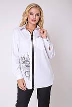 Женская  рубашка с на молнии больших размеров (Денди lzn), фото 3