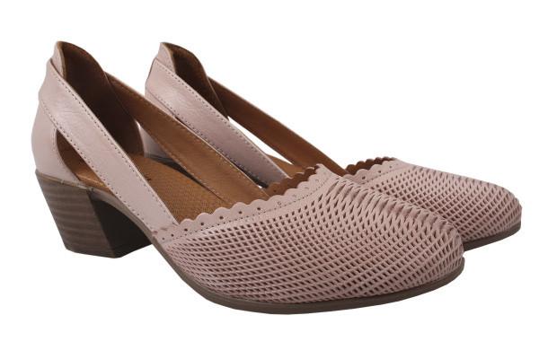 Туфли комфорт женские на каблуке Gossi Турция натуральная кожа, цвет пудра