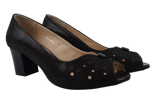 Туфли женские на каблуке Pimo натуральная замша, цвет черный