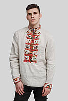Мужская вышитая серая рубашка вышиванка Grey