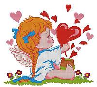 Набор для вышивания крестиком Ангелочек любви. Размер: 16,7*15 см