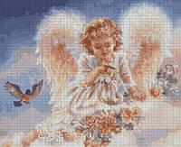 Набор для вышивания крестиком Ангел в облаках. Размер: 29*23,8 см